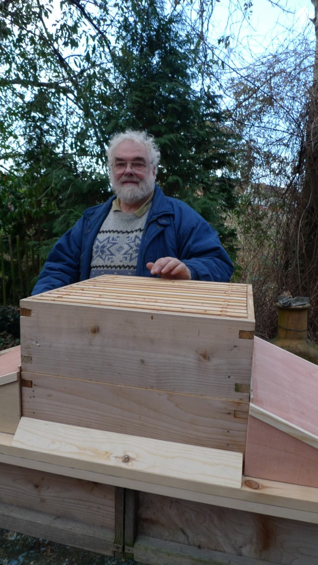 John Chapple with Cliff's hive