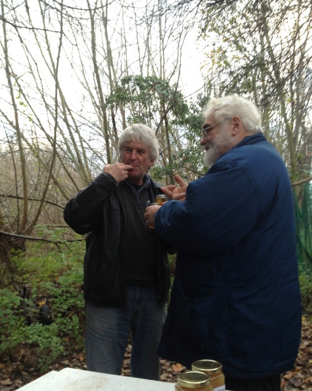 Pat Turner and John Chapple honey tasting