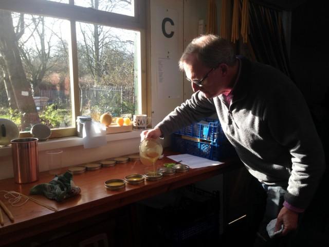 Bill pouring polish