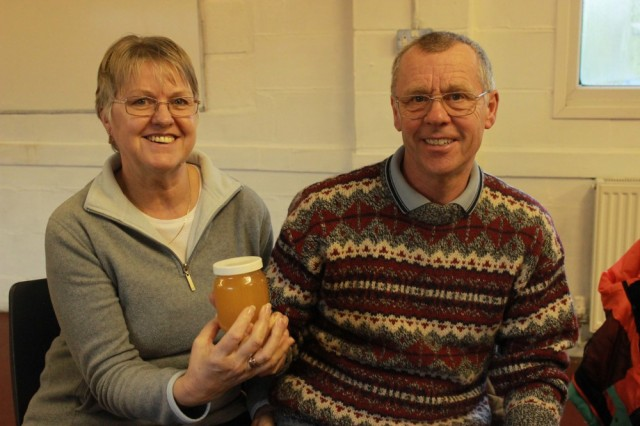 Betty and Alan with their winning honey