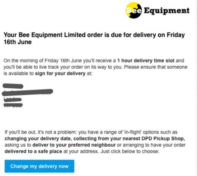 Bee equipment order